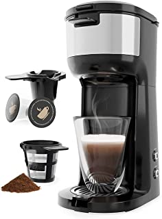 Single Serve Coffee Maker Brewer for K-Cup Pod & Ground Coffee Thermal Drip Instant Coffee Machine with Self Cleaning Func...