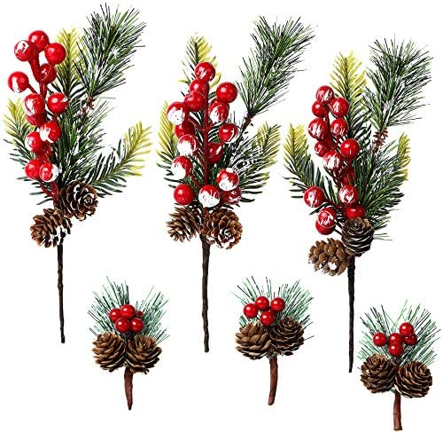 FEBSNOW Artificial Pine Picks Berries with Red Berry Decor Christmas Picks for Wreaths Pinecone product image