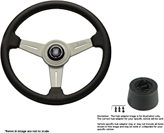 Nardi Classic 340mm (13.39 Inches) Leather Steering Wheel w/White Anodized Spokes and Hub Adapter for Triumph TR-4 Part # 6061.34.1001 + .5101
