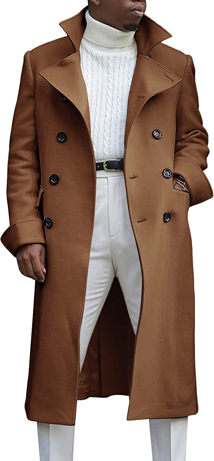 Ebifin Men's Notch Lapel Double Breasted Long Trench Coat Casual Cotton Blend Peacoat