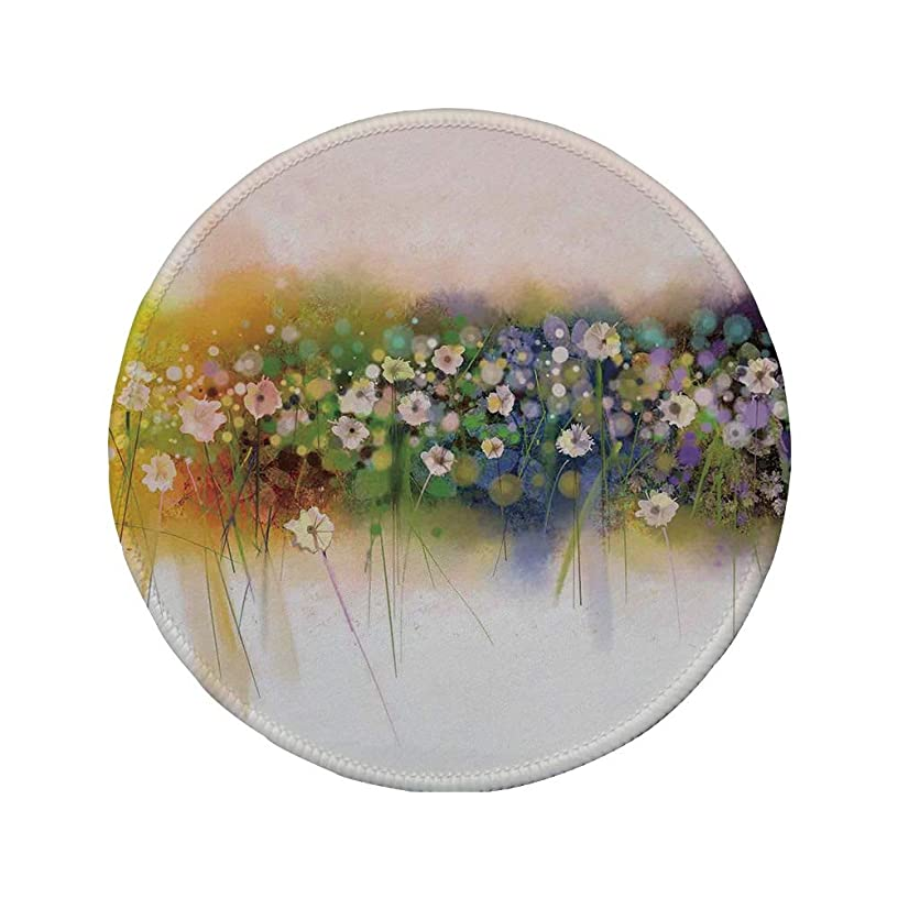 Non-Slip Rubber Round Mouse Pad,Watercolor Flower Home Decor,Vogue Display Wisteria Violets Wreath Fragrant Plants Herbs Artsy,Multi,11.8