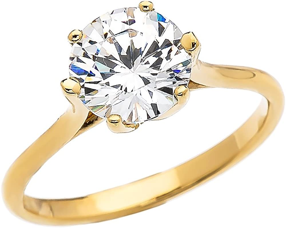 CaliRoseJewelry 10k Gold Engagement and Solitaire Proposal Ring with 3 Carat C.Z.