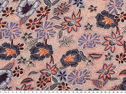 Zanderino A partire da 1 m: stampa in jersey di viscosa, fiori, naturale/blu/arancione, larghezza 145 cm