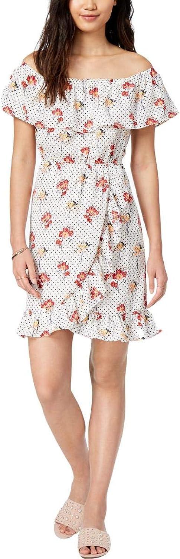 Maison Jules Womens OffTheShoulder Floral Print Wrap Dress