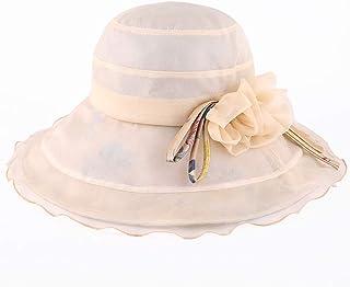 WN - Sombrero - Visera solar para el verano para mujer Protección contra los rayos UV plegable Decoración de flores Sombrero para el sol Sombrero de playa de lado ancho (2 colores) Sombrero para mujer