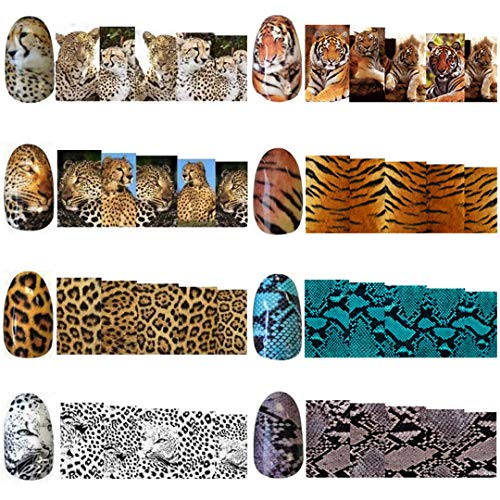 8 Sheets/Set Water Transfer Nail Decals of Tiger Stripes Design Wild Cheetah Sexy Leopard Print Nail Art Foil with Snake Skin Nail Tattoo Sticker