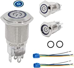 Coolais 16mm Push Button Switches Latching Push Button Blue LED Light Waterproof Switch IP67 with Socket Plug Wire 5A 12V 2 Sets/Pack PBSLL-02 (Latching/Self-Locking)