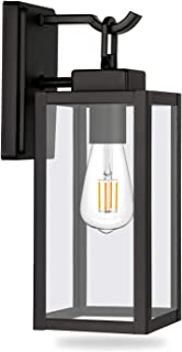 Hykolity Outdoor Wall Lantern, LED Bulb Included, Matte Black Wall Sconce Light Fixtures, Architectural Fixture with Clear Glass Shade ETL List for Entryway, Porch, Doorway
