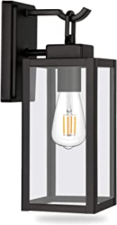 Hykolity Outdoor Wall Lantern, Matte Black Wall Sconce Light Fixtures (Blub Not Included), Architectural Fixture with Clear Glass Shade ETL List for Entryway, Porch, Doorway