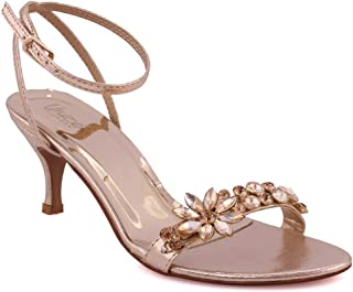 "Unze Women ""IVRIA"" Open Toe Evening Crystal Adorned Toe Bar Strap Wedding  Adjustable Buckle c90447664d07"