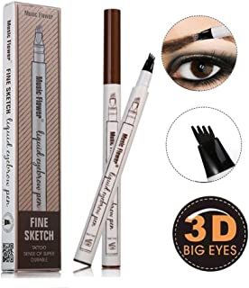 Ethradia Tattoo Eyebrow Pen With Four Tips Brow Pen Long-lasting Waterproof Liquid Eyebrow Pencil Brow Gel for Eyes Makeup (Chestnut)