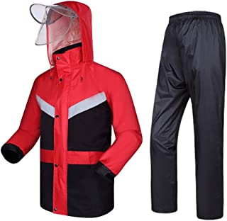 Radvihay Rainwear Rain Suit for Men Reusable Rain Jacket and Rain Pants Set Adults Rainproof Windproof Hooded Outdoor Work...