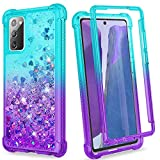 Ruky Galaxy Note 20 5G Case, Full Body Rugged Glitter Liquid Without Built-in Screen Protector Heavy Duty Shockproof Protective Girls Women Phone Case for Samsung Galaxy Note 20 5G 6.7', Teal Purple