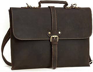 Men's Accessories 15 inch Laptop Handbag,Mens Leather Satchel Office Briefcase Retro Style Messenger Shoulder Tote Bag Outdoor Recreation (Color : Coffee Color)