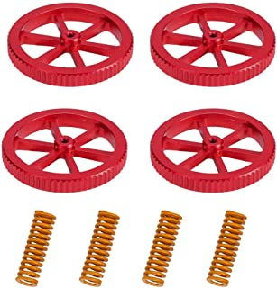 3DINNOVATIONS Upgraded 4PCS Aluminum Hand Twist Leveling Nut Red with 4PCS Hot Bed Die Yellow Springs for Ender 3/3 Pro/3 ...