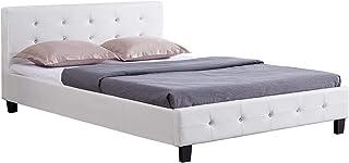 IDIMEX Lit Double pour Adulte Josy Couchage 140 x 190 cm avec sommier 2 Places / 2 Personnes, tête et Pied de lit capitonn...