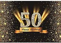 HD 7x5ftビニールハッピー50歳の誕生日パーティーの背景写真ダイヤモンドグリッターゴールドと黒の背景パーティーの装飾バナー写真ブース撮影スタジオの小道具