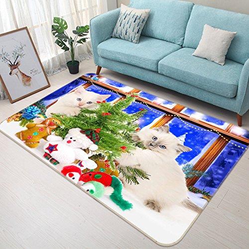 3D Cat Weihnachtsbaum 244 Rutschfest Teppich Matte Raum Matte Qualität Elegant Teppich DE, AJ WALLPAPER Seven (H140cmxB200cm【55.1
