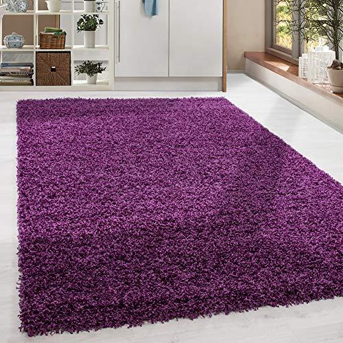 HomebyHome - Tappeto a pelo lungo Shaggy, colore viola Taglie, Polipropilene, Lilla, 80 x 150 cm