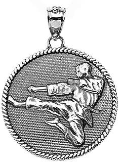 Fine Oxidized Sterling Silver Martial Arts Karate