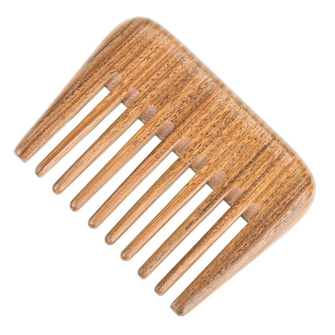 マキシム韓国用量Guomao 巻き毛のもつれを解くためのナチュラルグリーンビャクダンの毛の櫛の木製の櫛(広い歯) (Size : 10*7.5 cm)