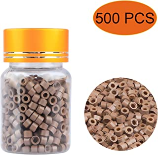500 PCS Silicone Lined Micro Beads, 5mm Light Brown Color Hair Extension Beads Micro Rings Links Beads for I Bonded Tipped Hair Extensions