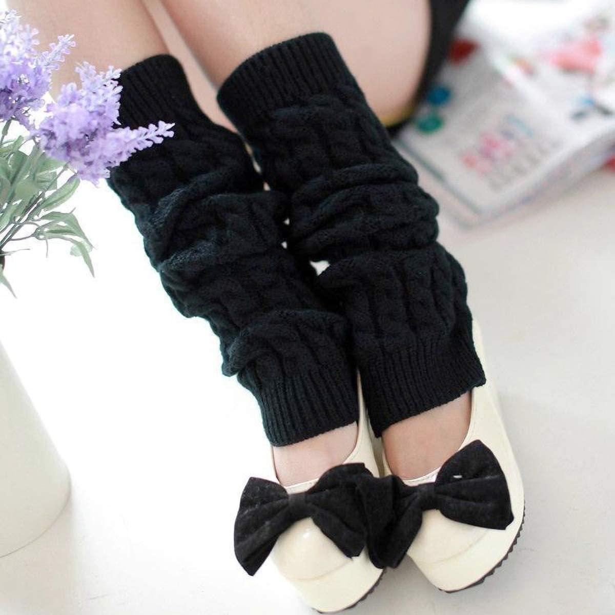 Leg Warmers Women's Fashion Knitted Crochet Long Boot Socks, 4 Pairs Knee High Cable Knit Thermal Winter Sleeve for Lady