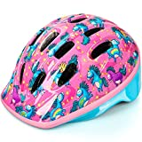 OutdoorMaster Toddler Bike Helmet - CPSC Certified Multi-sport Adjustable Helmet for Children (Age 3-5) , 14 Vents Safety & Fun Print Design for Kids Skating Cycling Scooter - Unicorn