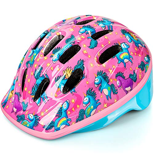 OutdoorMaster Toddler Bike Helmet - CPSC Certified Multi-sport Adjustable Helmet for Children  , 14 Vents Safety & Fun Print Design for Kids Skating Cycling Scooter - Unicorn,S