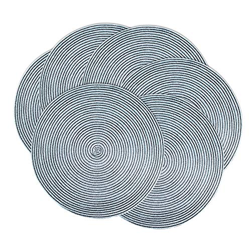 Britimes Round Placemats Woven Set of 6 for Dining Table Kitchen, Holiday Placemats Decor Table Mat Diameter 15 inch (Blue and Silver)