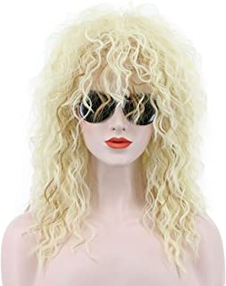 Karlery 70s 80s Metal Rocker Wig Mens Womens Long Curly Blonde Party Wig Costume Anime Wig
