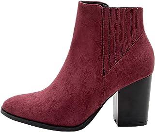Women's Bootie Block High Heel Zip Ankle Boots