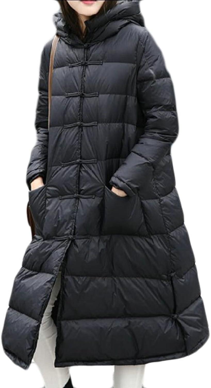 GAGA Women Winter Vintage Long Sleeve Solid color Down Coat