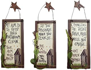 Outhouse Etiquette Bathroom Wood Signs | Vintage Rustic Home Bathroom Laundry Decor | Size Small | Set of 3 | 6 x 2.75 Inch