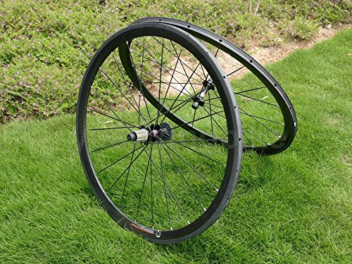 yuanxingbike Full Carbon 3K Matt Road Bike Ruota, Profilo 38mm Larghezza 23mm Lato Freno basalto Toray Carbon Wheelset for Shimano 8/9/10/11S