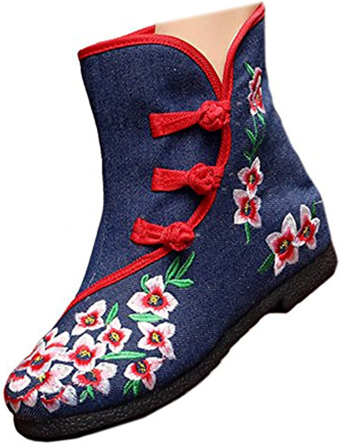 Shenghuajie Vintage Beijing Cloth shoes Embroidered Boots 12-02 bluee with Cotton