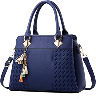 Wultia - Fashion Women Handbags Tassel PU Leather Totes Bag Top-Handle Embroidery Crossbody Bag Shoulder Bag Lady Simple Style Hand Bags Blue