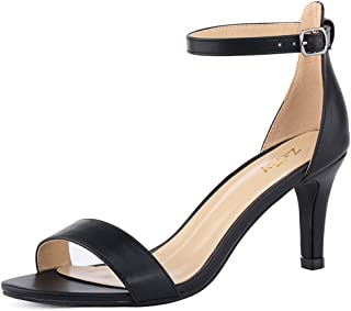 23cc070e726a ZriEy Women s Heeled Sandals Ankle Strap High Heels 7CM Open Toe Mid Heel  Sandals Bridal Party