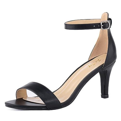 1af661e7561 ZriEy Women s Heeled Sandals Ankle Strap High Heels 7CM Open Toe Mid Heel  Sandals Bridal Party