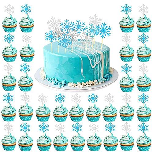 FANDE 60 Piezas Toppers para Pastel, Adorno de Pastel Copos de Nieve, Toppers de Cupcake Brillantes, Decoración de Helado Topper(Copos de Nieve Plata y Azul)