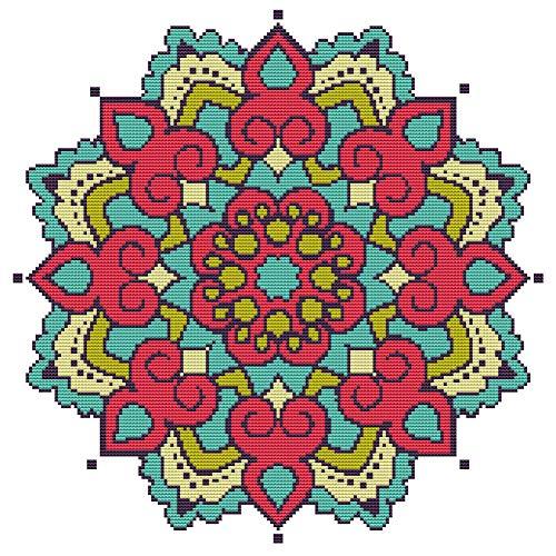 Awesocrafts Kit de punto de cruz con estampado de mandala, flores rojas, patrones fáciles de bordar, costura en cruz, suministros (Mandala #2)
