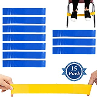 fun deal 15 PCS Chair Bands Stretch Foot Band,Fidget Bands Bouncy Kick Fidgets for Elementary, Middle, High School Students and Adults for Classroom Chairs and Desk Fidget Feet Band (Blue)