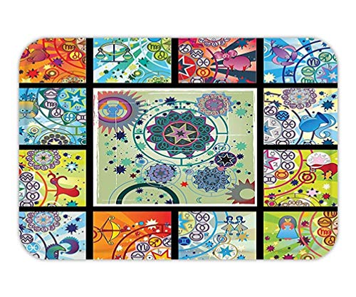 Casepillows deurmat Zodiac Decor Alle sterrenbeelden Idols met kleurrijke middeleeuwse kunstfiguren mystieke maand Toekomstige afbeelding Multi