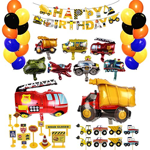 Construction Truck Party Balloon -88 Pack Construction Theme Party Decoration Supplies Traffic Sign Cupcake Topper Truck/Fire Dept/School Bus/Police/Tank/Train/Ambulance
