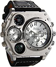 Avaner Mens Big Face Watch, Dual Time Zone Leather Strap Sport Watch, Analog Quartz Wrist Watch with Decorative Compass Thermometer Dial