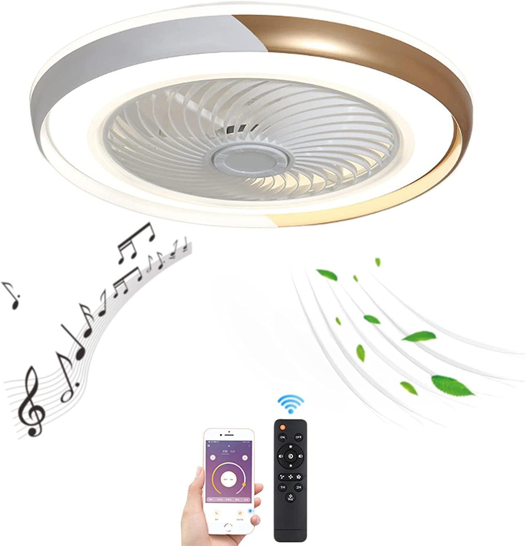 VOMI Regulable Lámpara de Techo Ventilador con Mando a Distancia 80W LED Ventilador de Techo con Luz Silencioso Ultradelgado Lámpara de Ventilador Bluetooth Altavoz para Dormitorio