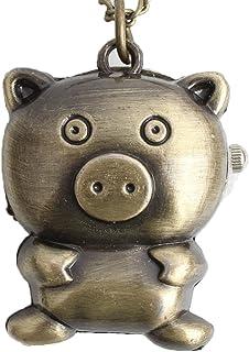 HR Mignonne Petite Cochon Petite Montre de Poche Vintage avec chaîne Cadeau d'anniversaire pour Enfants