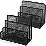 Desk Mail Organizer, Anumit File Holder Letter Sorter with 3 Vertical Upright Metal Mesh Compartments Document, Filing, Folders, Mail, Paper Organizer for Home or Office Desktop (2PCS)