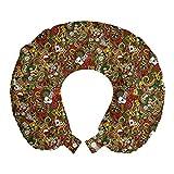 ABAKUHAUS Casinò Cuscino da Viaggio, Doodle stile Art Bingo, Accessorio in Schiuma di Memoria per Viaggio, 30 cm x 30 cm, Multicolore