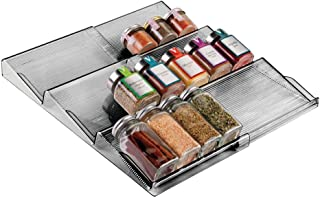 mDesign Adjustable, Expandable Plastic Spice Rack, Drawer Organizer for Kitchen Cabinet Drawers - 3 Slanted Tiers for Garlic, Salt, Pepper Spice Jars, Seasonings, Vitamins, Supplements - Smoke Gray